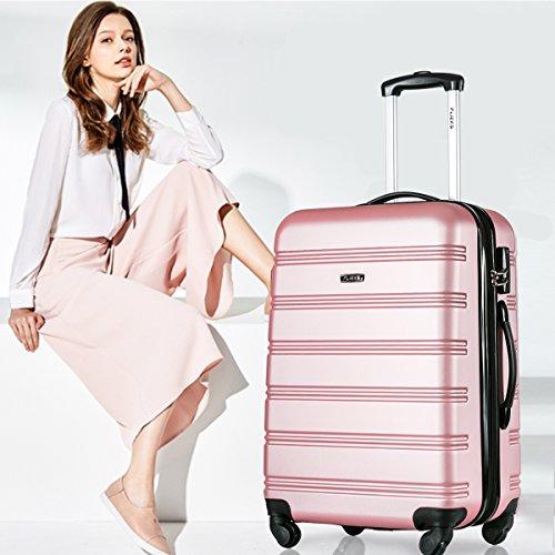 Flieks Hartschalen Handgepäck Reisekoffer Trolley Koffer mit 4 Rollen und Zahlenschloss, XL-L-M(L, Pink) - 2