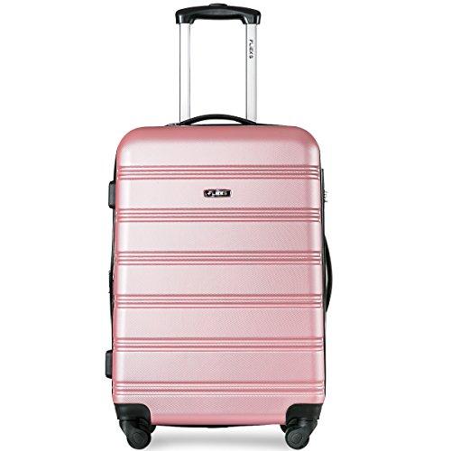 Flieks Hartschalen Handgepäck Reisekoffer Trolley Koffer mit 4 Rollen und Zahlenschloss, XL-L-M(L, Pink) - 4