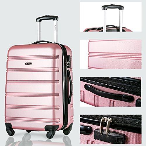 Flieks Hartschalen Handgepäck Reisekoffer Trolley Koffer mit 4 Rollen und Zahlenschloss, XL-L-M(L, Pink) - 7