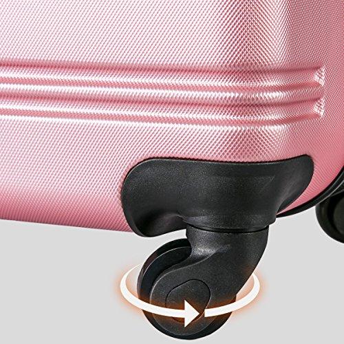 Flieks Hartschalen Handgepäck Reisekoffer Trolley Koffer mit 4 Rollen und Zahlenschloss, XL-L-M(L, Pink) - 9