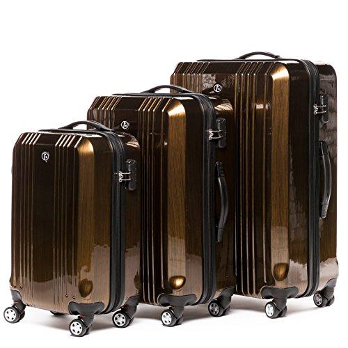 FERGÉ® Kofferset Hartschale 3-teilig CANNES Reise-Koffer Set leicht 3er Hartschalenkoffer Trolley Set (M L XL) 4 Zwillings-Rollen (360°) Hartschale braun - 2