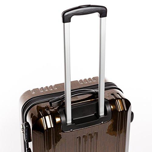 FERGÉ® Kofferset Hartschale 3-teilig CANNES Reise-Koffer Set leicht 3er Hartschalenkoffer Trolley Set (M L XL) 4 Zwillings-Rollen (360°) Hartschale braun - 3