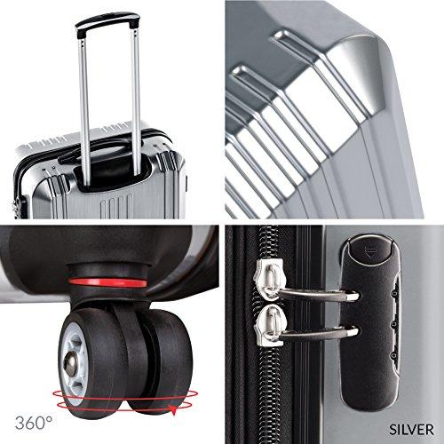 FERGÉ® Kofferset Hartschale 3-teilig CANNES Reise-Koffer Set leicht 3er Hartschalenkoffer Trolley Set (M L XL) 4 Zwillings-Rollen (360°) Hartschale braun - 5