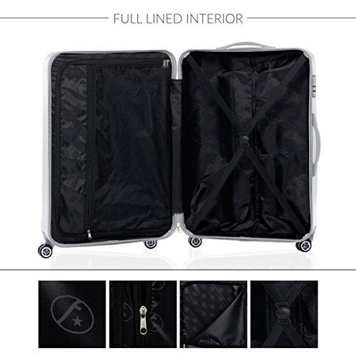 FERGÉ® Kofferset Hartschale 3-teilig CANNES Reise-Koffer Set leicht 3er Hartschalenkoffer Trolley Set (M L XL) 4 Zwillings-Rollen (360°) Hartschale braun - 6