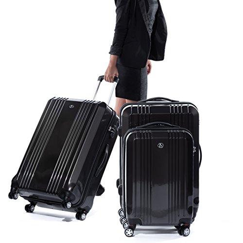FERGÉ® Kofferset Hartschale 3-teilig CANNES Reise-Koffer Set leicht 3er Hartschalenkoffer Trolley Set (M L XL) 4 Zwillings-Rollen (360°) Hartschale braun - 7