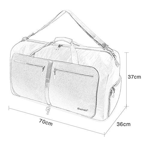 Gonex Leichter Faltbare Reise-Gepäck 80L, Farbe: Schwarz, Duffel Taschen Uebernachtung Taschen/Sporttasche für Reisen Sport Gym Urlaub - 7