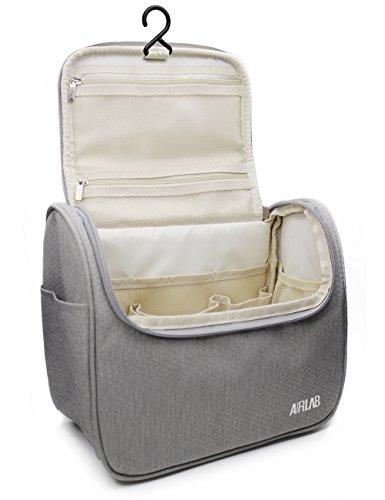 Kulturbeutel zum Aufhängen, Airlab Kulturtasche mit Tragegriff und Haken, Größe: 24x 19,5 x 12,5cm, Grau - 2