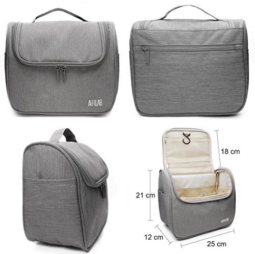 Kulturbeutel zum Aufhängen, Airlab Kulturtasche mit Tragegriff und Haken, Größe: 24x 19,5 x 12,5cm, Grau - 6