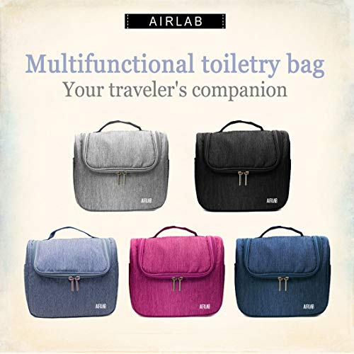 Kulturbeutel zum Aufhängen, Airlab Kulturtasche mit Tragegriff und Haken, Größe: 24x 19,5 x 12,5cm, Grau - 7