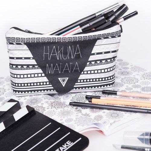 Hakuna Matata Aztec Kosmetiktasche Federmappe Mäppchen Tüte Beutel Zipper Kulturbeutel Make Up Bag Reißverschluss Full Print All Over Kosmetiktüte - 5