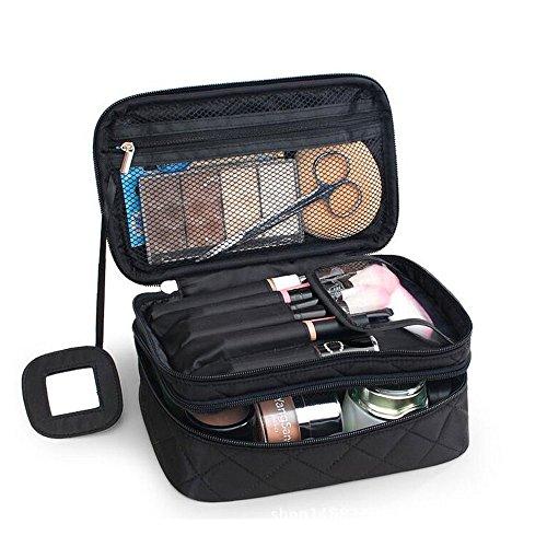 Kosmetiktasche, ONEGenug MakeUp Tasche, Schminktasche Kosmetikbeutel 23*10*14 cm, Größe M, Doppelschicht mit Spiegel für Damen Schwarz - 2