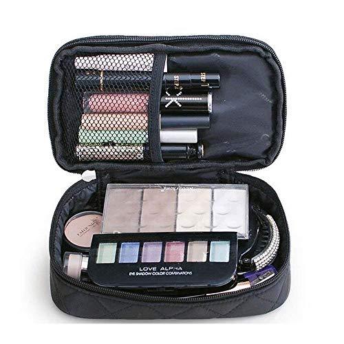 Kosmetiktasche, ONEGenug MakeUp Tasche, Schminktasche Kosmetikbeutel 23*10*14 cm, Größe M, Doppelschicht mit Spiegel für Damen Schwarz - 4