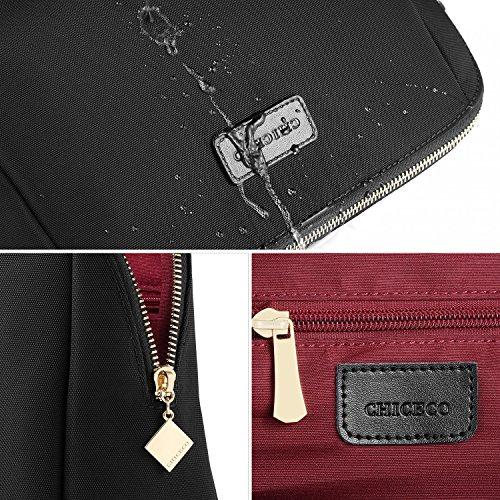 CHICECO Nylon Groß Kosmetiktasche für Handtasche, 1 Schwarz, L - 3
